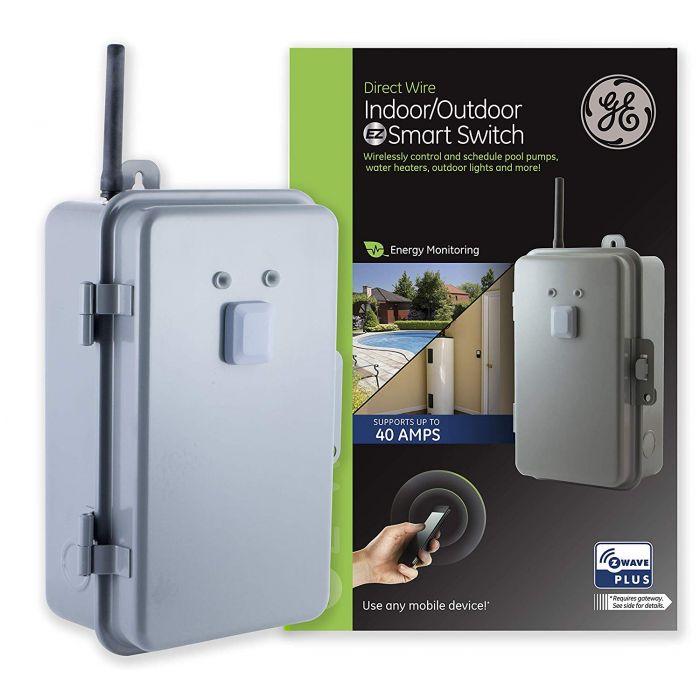 Ge Z Wave Plus Direct Wire Indoor Outdoor Smart Switch Gray