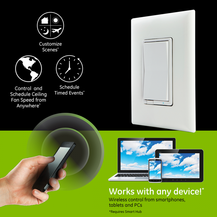 GE Z-Wave In-Wall Smart Fan Control, White/Almond