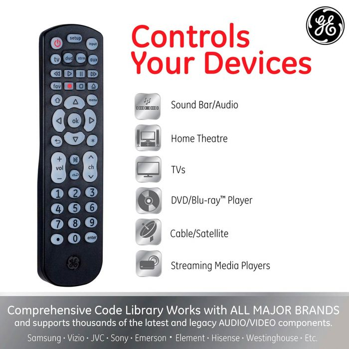 GE 4-Device Backlit Big Button Universal Remote, Black