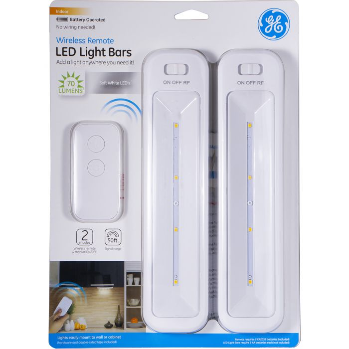Ge Battery Operated Led Light Bars With Remote White 2 Pack