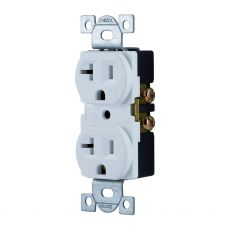 GE Grounding Duplex Receptacle, White