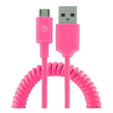Uber 4ft. Micro USB Charging Cable with Coiled Cord, Pink