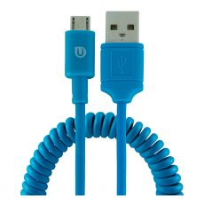 Uber 4ft. Micro USB Sync Charging Cable with Coiled Cord, Blue