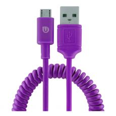 Uber 4ft. Micro USB Sync Charging Cable with Coiled Cord, Purple