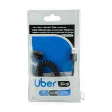 Uber 4 ft. Coiled 30-Pin to USB Charging Cable, Black