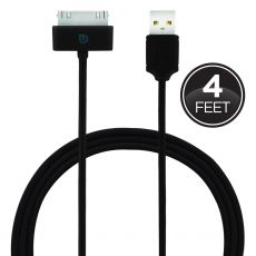 Uber 4ft. 30-Pin to USB Charging Cable with Coiled Cord, Black