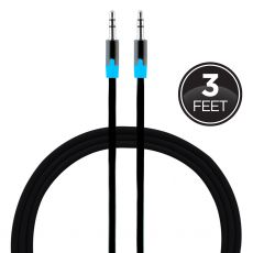 Uber 3ft. 3.5mm Auxiliary Cable, Black/Blue