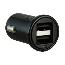 GE 2-USB Car Charger, Black