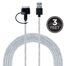 GE 3ft. Micro USB and 30-Pin Connector Charging Cable, Black