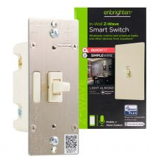 Enbrighten Z-Wave In-Wall Smart Toggle Switch with QuickFit™ and SimpleWire™, Light Almond