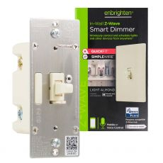 Enbrighten Z-Wave In-Wall Smart Toggle Dimmer with QuickFit™ and SimpleWire™, Light Almond