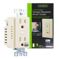 Enbrighten Z-Wave In-Wall Smart Tamper-Resistant Outlet, Light Almond