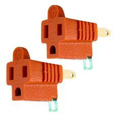 GE Polarized Grounded Adapter Plug, Orange, 2 Pack