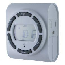 GE 7-Day Indoor 2-Outlet SunSmart Digital Timer, White