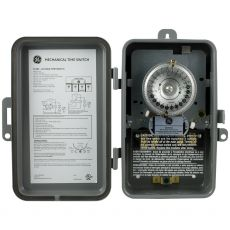 GE 24-Hour Indoor/Outdoor Heavy Duty Mechanical Time Switch, Gray