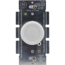 GE Rotate On/Off Dimmer, White/Light Almond
