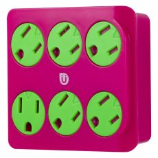 Uber 6-Outlet Wall Tap, Pink/Green