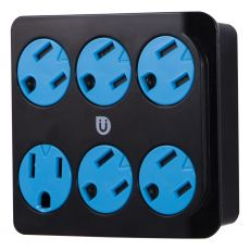 Uber 6-Outlet Wall Tap, Blue/Black