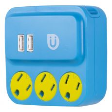 Uber 3-Outlet 2-USB Charging Wall Tap, Blue/Yellow