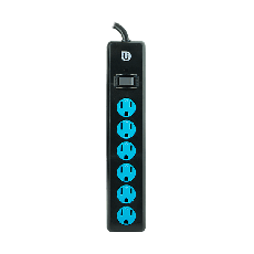 Uber 6-Outlet 4 ft. Power Strip, Blue/Black