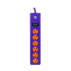 Uber 6-Outlet 4 ft. Power Strip, Purple/Orange