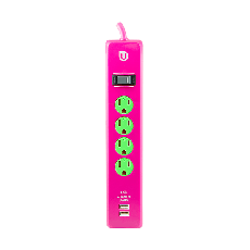 Uber 4-Outlet 2-USB Charging 4 ft. Power Strip, Pink/Green
