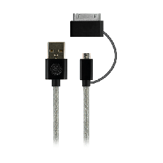 GE 3 ft. Micro USB and 30-Pin Connector Charging Cable, Black