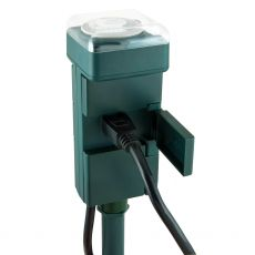 GE 6-Outlet Outdoor Mechanical Stake Timer, Green