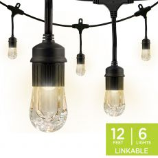Enbrighten Classic LED Cafe Lights, 6 Bulbs, 12 ft. Black Cord