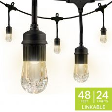 Enbrighten Classic LED Cafe Lights, 24 Bulbs, 48 ft. Black Cord
