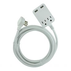 GE 2-Outlet and 2-USB Charging 12 ft. Extension Cord with Surge Protection, White