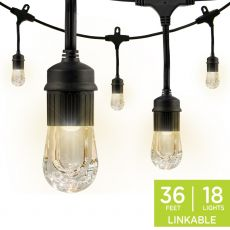 Enbrighten Classic LED Cafe Lights, 18 Bulbs, 36ft. Black Cord