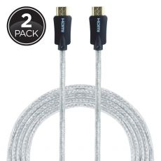 GE Pro Premium 6 ft. HDMI Cable with Ethernet, Silver, 2 Pack
