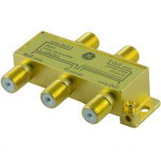 GE Pro Digital 4-Way Coaxial Splitter, Gold