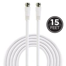 GE 15ft. RG6 Coaxial Cable with F-Type Connectors, White