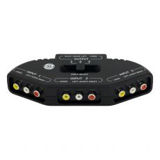 GE 3-Device Audio/Video Switch Splitter, RCA-Type Jacks, Black