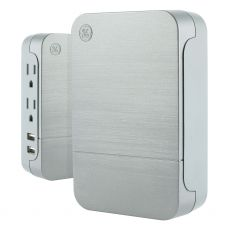 GE UltraPro 2-Outlet 2-USB Charging Side-Access Wall Tap with Surge Protection, Gray