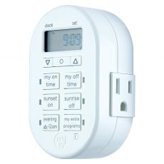 myTouchSmart Indoor Plug-In SunSmart Digital Timer, White