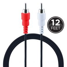 GE 12ft. RCA Audio Cable, Black