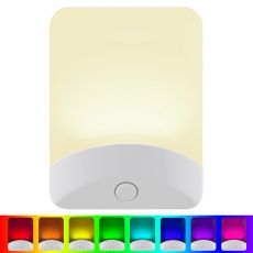 GE Color-Changing Light Sensing LED Night Light, White
