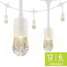 Enbrighten Classic LED Cafe Lights, 6 Bulbs, 12ft. White Cord