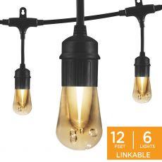Enbrighten Vintage LED Cafe Lights, 6 Bulbs, 12 ft. Black Cord
