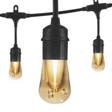 Enbrighten Vintage LED Cafe Lights, 24 Bulbs, 48 ft. Black Cord