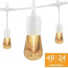 Enbrighten Vintage LED Cafe Lights, 24 Bulbs, 48 ft. White Cord