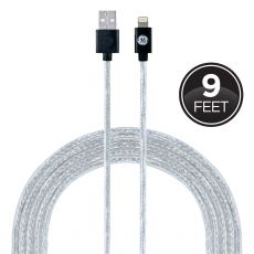 GE Pro 9 ft. Lightning Charging Cable, Black