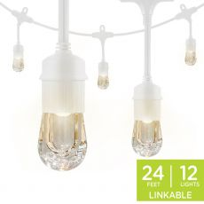 Enbrighten Classic LED Cafe Lights, 12 Bulbs, 24ft. White Cord