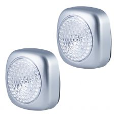 Energizer Battery Operated LED Tap Puck Light, Silver, 2 Pack