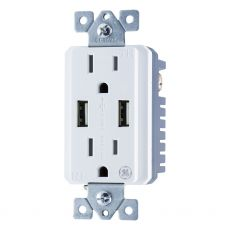 GE 2-Outlet 2-USB Charging In-Wall Tamper Resistant Receptacle, White