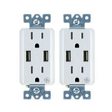 GE 2-Outlet 2-USB Charging Outlet, White, 2 Pack