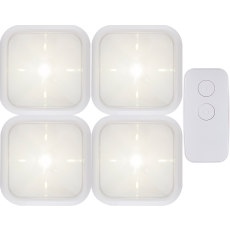GE Battery Operated LED Puck Lights with Remote, 4 Pack, White